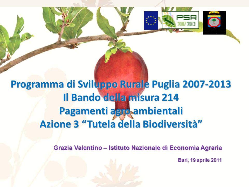 Programma di Sviluppo Rurale Puglia 2007-2013 Il Bando della misura 214 Pagamenti agro ambientali Azione 3 Tutela della Biodiversità Grazia Valentino – Istituto Nazionale di Economia Agraria Bari, 19 aprile 2011