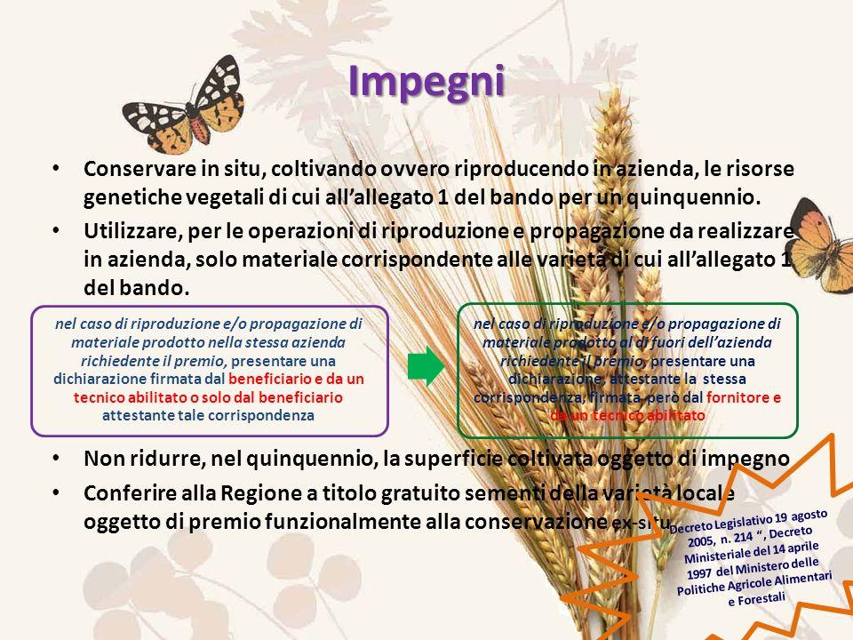 Impegni Conservare in situ, coltivando ovvero riproducendo in azienda, le risorse genetiche vegetali di cui allallegato 1 del bando per un quinquennio.