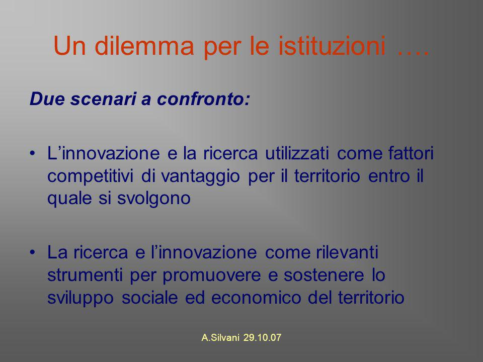 A.Silvani 29.10.07 Un dilemma per le istituzioni ….