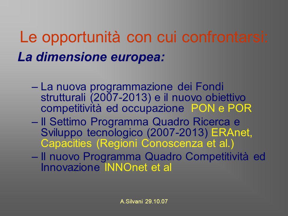 A.Silvani 29.10.07 Le opportunità con cui confrontarsi: La dimensione europea: –La nuova programmazione dei Fondi strutturali (2007-2013) e il nuovo obiettivo competitività ed occupazione PON e POR –Il Settimo Programma Quadro Ricerca e Sviluppo tecnologico (2007-2013) ERAnet, Capacities (Regioni Conoscenza et al.) –Il nuovo Programma Quadro Competitività ed Innovazione INNOnet et al