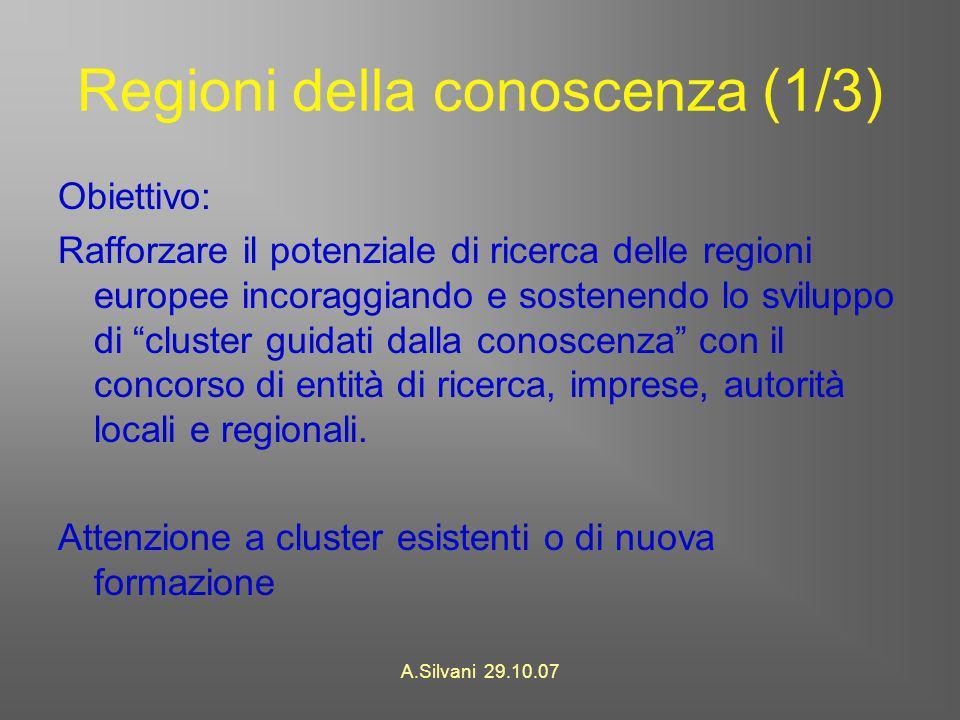 A.Silvani 29.10.07 Regioni della conoscenza (1/3) Obiettivo: Rafforzare il potenziale di ricerca delle regioni europee incoraggiando e sostenendo lo sviluppo di cluster guidati dalla conoscenza con il concorso di entità di ricerca, imprese, autorità locali e regionali.