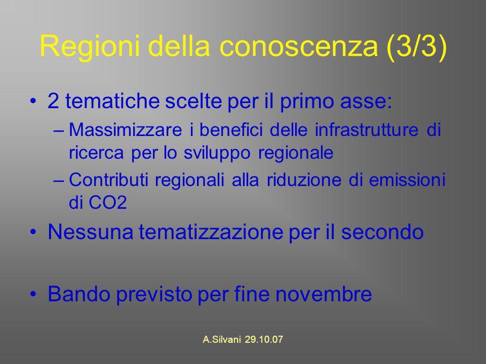 A.Silvani 29.10.07 Regioni della conoscenza (3/3) 2 tematiche scelte per il primo asse: –Massimizzare i benefici delle infrastrutture di ricerca per lo sviluppo regionale –Contributi regionali alla riduzione di emissioni di CO2 Nessuna tematizzazione per il secondo Bando previsto per fine novembre