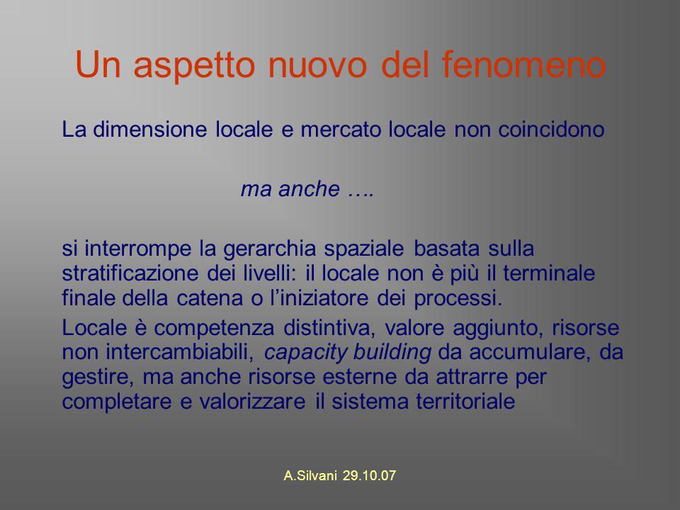 A.Silvani 29.10.07 Un aspetto nuovo del fenomeno La dimensione locale e mercato locale non coincidono ma anche ….