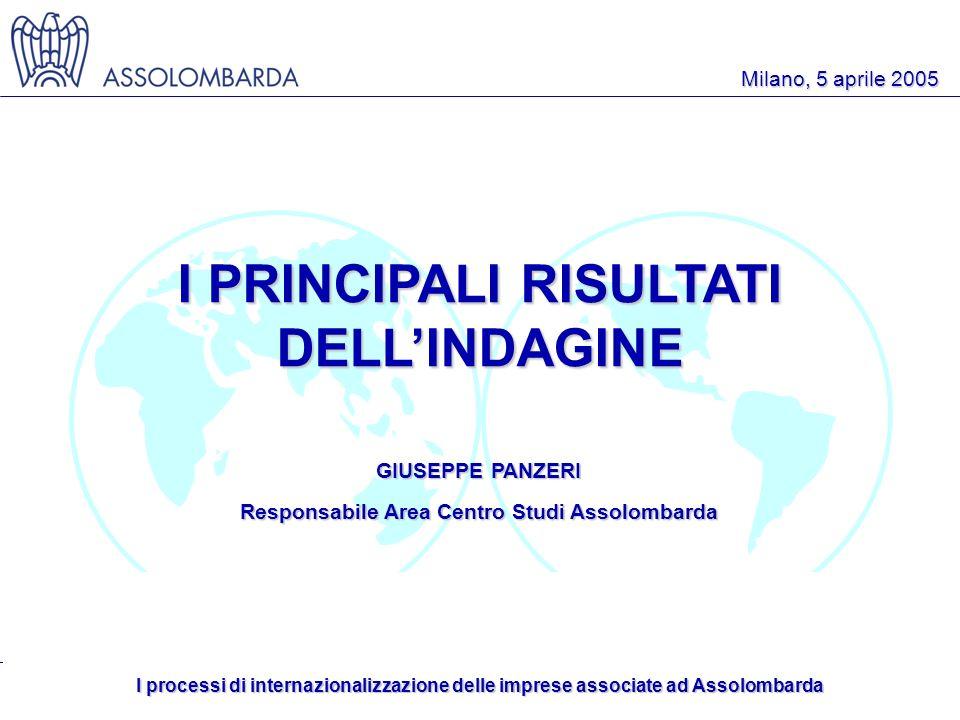 I processi di internazionalizzazione delle imprese associate ad Assolombarda Milano, 5 aprile 2005 I PRINCIPALI RISULTATI DELLINDAGINE GIUSEPPE PANZERI Responsabile Area Centro Studi Assolombarda
