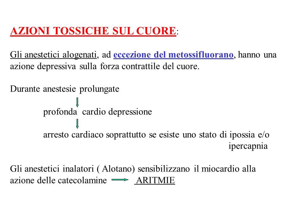 AZIONI TOSSICHE SUL CUORE : Gli anestetici alogenati, ad eccezione del metossifluorano, hanno una azione depressiva sulla forza contrattile del cuore.