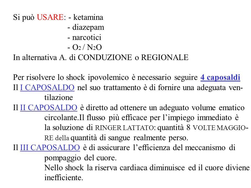 Si può USARE: - ketamina - diazepam - narcotici - O 2 / N 2 O In alternativa A. di CONDUZIONE o REGIONALE Per risolvere lo shock ipovolemico è necessa