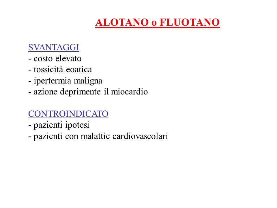 ALOTANO o FLUOTANO SVANTAGGI - costo elevato - tossicità eoatica - ipertermia maligna - azione deprimente il miocardio CONTROINDICATO - pazienti ipote