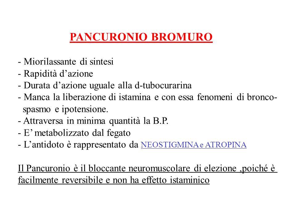 PANCURONIO BROMURO - Miorilassante di sintesi - Rapidità dazione - Durata dazione uguale alla d-tubocurarina - Manca la liberazione di istamina e con