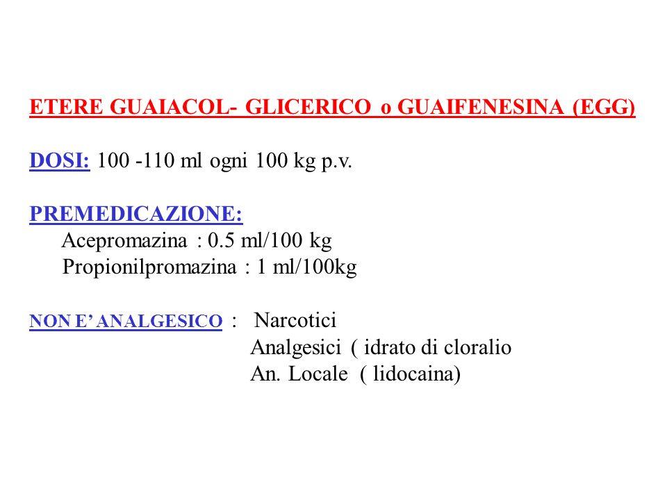 ETERE GUAIACOL- GLICERICO o GUAIFENESINA (EGG) DOSI: 100 -110 ml ogni 100 kg p.v. PREMEDICAZIONE: Acepromazina : 0.5 ml/100 kg Propionilpromazina : 1