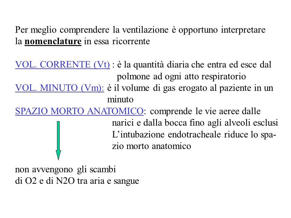 Per meglio comprendere la ventilazione è opportuno interpretare la nomenclature in essa ricorrente VOL. CORRENTE (Vt) : è la quantità diaria che entra