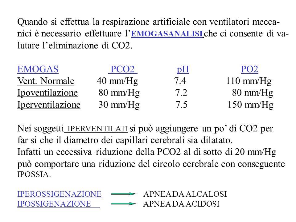 Quando si effettua la respirazione artificiale con ventilatori mecca- nici è necessario effettuare l EMOGASANALISI che ci consente di va- lutare lelim