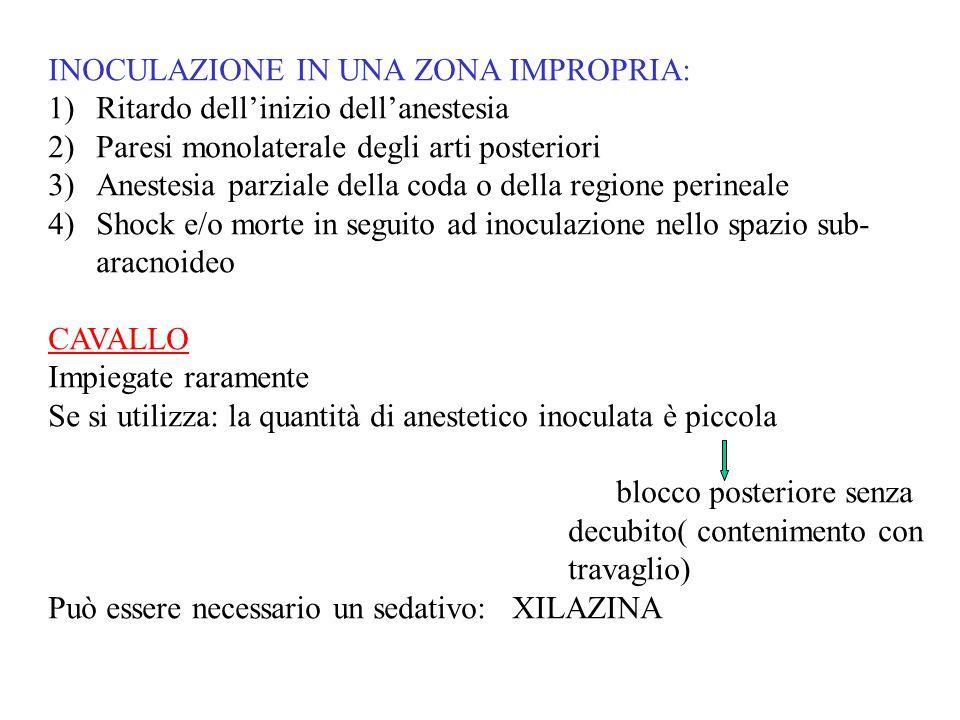 INOCULAZIONE IN UNA ZONA IMPROPRIA: 1)Ritardo dellinizio dellanestesia 2)Paresi monolaterale degli arti posteriori 3)Anestesia parziale della coda o d