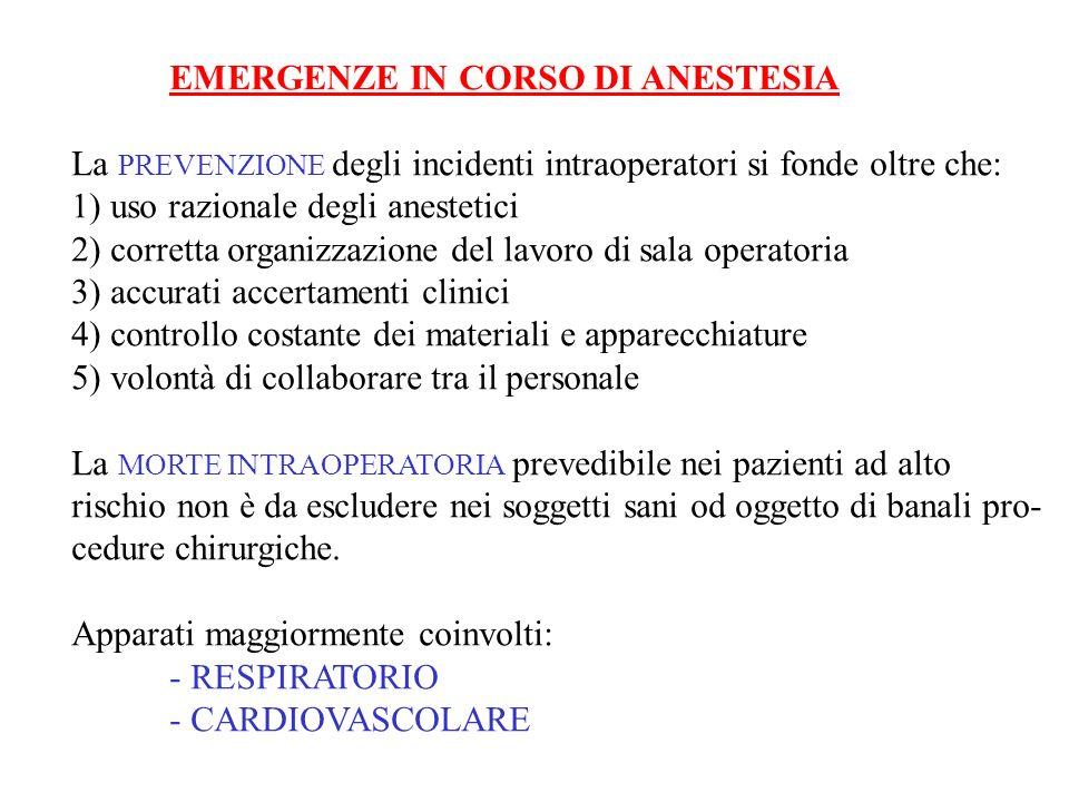 EMERGENZE IN CORSO DI ANESTESIA La PREVENZIONE degli incidenti intraoperatori si fonde oltre che: 1) uso razionale degli anestetici 2) corretta organi