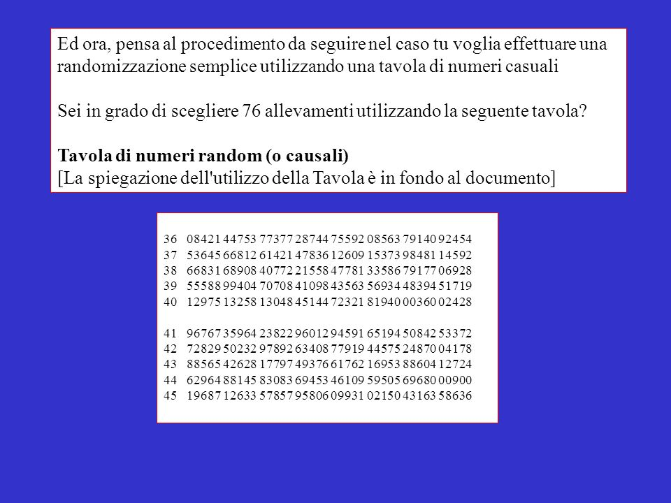 Ed ora, pensa al procedimento da seguire nel caso tu voglia effettuare una randomizzazione semplice utilizzando una tavola di numeri casuali Sei in gr