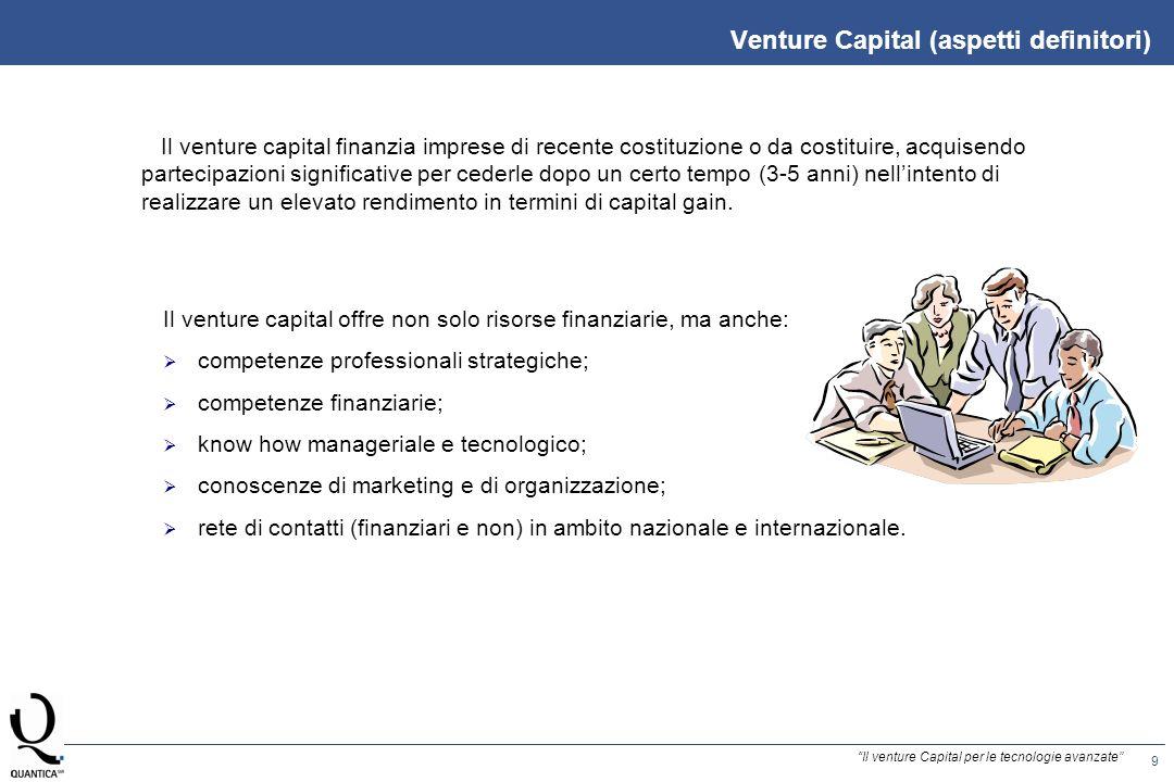 9 Il venture Capital per le tecnologie avanzate Venture Capital (aspetti definitori) Il venture capital finanzia imprese di recente costituzione o da costituire, acquisendo partecipazioni significative per cederle dopo un certo tempo (3-5 anni) nellintento di realizzare un elevato rendimento in termini di capital gain.