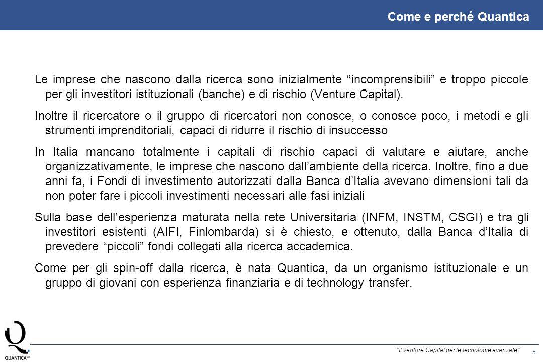 6 Il venture Capital per le tecnologie avanzate MANAGEMENT COMPANY Quantica sgr spa è la prima Società di Gestione del Risparmio in Italia costituita ai sensi del Provvedimento di Banca dItalia del 19 luglio 2001 e autorizzata allesercizio del servizio di gestione collettiva del risparmio.