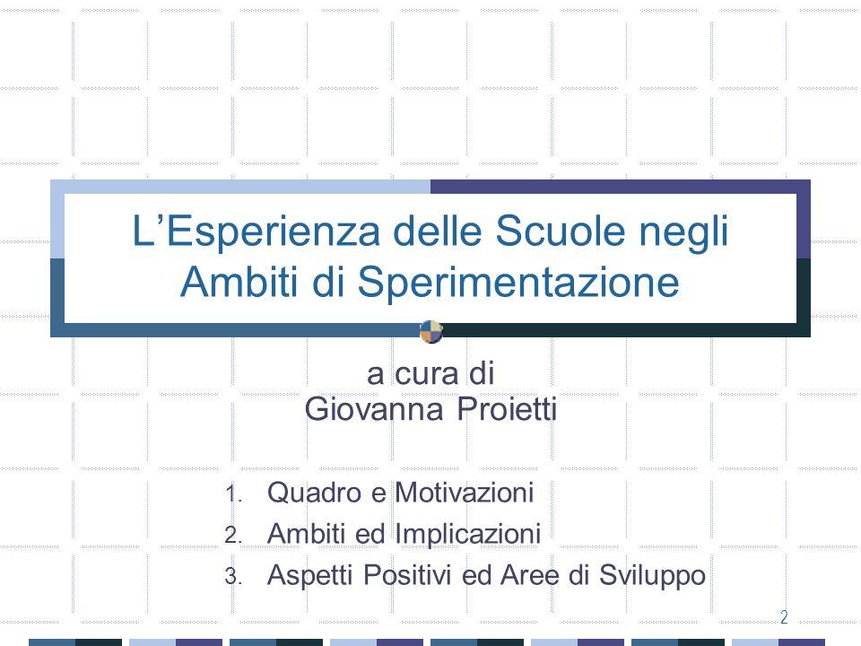 2 LEsperienza delle Scuole negli Ambiti di Sperimentazione a cura di Giovanna Proietti 1.