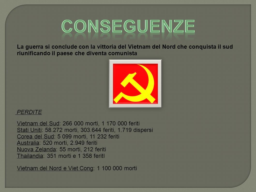 La guerra si conclude con la vittoria del Vietnam del Nord che conquista il sud riunificando il paese che diventa comunista PERDITE Vietnam del Sud: 266 000 morti, 1 170 000 feriti Stati Uniti: 58.272 morti, 303.644 feriti, 1.719 dispersi Corea del Sud: 5 099 morti, 11 232 feriti Australia: 520 morti, 2.949 feriti Nuova Zelanda: 55 morti, 212 feriti Thailandia: 351 morti e 1 358 feritI Vietnam del Nord e Viet Cong: 1 100 000 morti