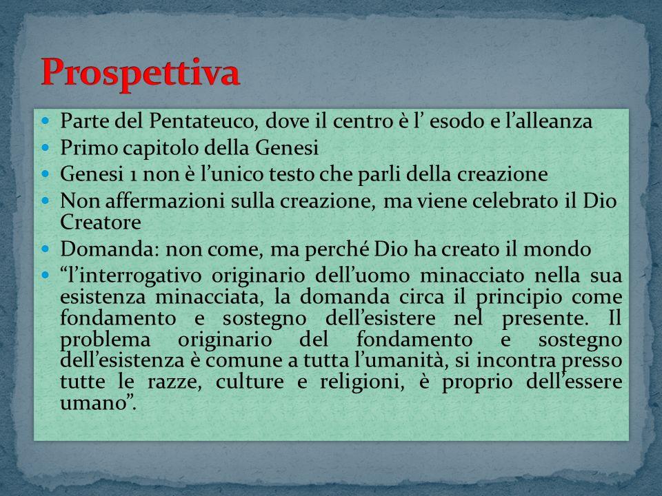 Parte del Pentateuco, dove il centro è l esodo e lalleanza Primo capitolo della Genesi Genesi 1 non è lunico testo che parli della creazione Non affer