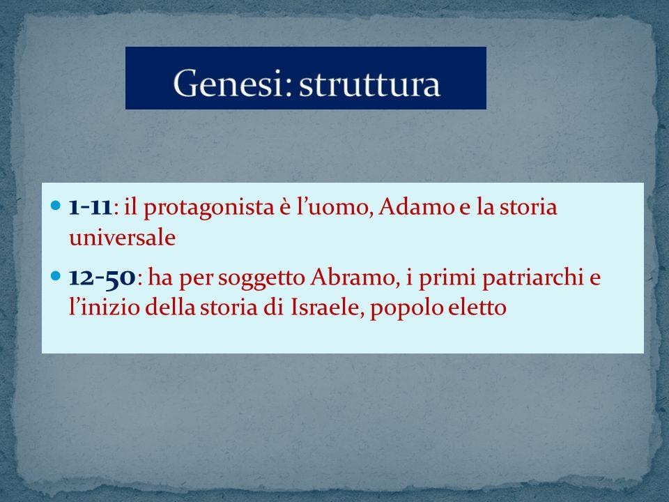 1-11 : il protagonista è luomo, Adamo e la storia universale 12-50 : ha per soggetto Abramo, i primi patriarchi e linizio della storia di Israele, pop