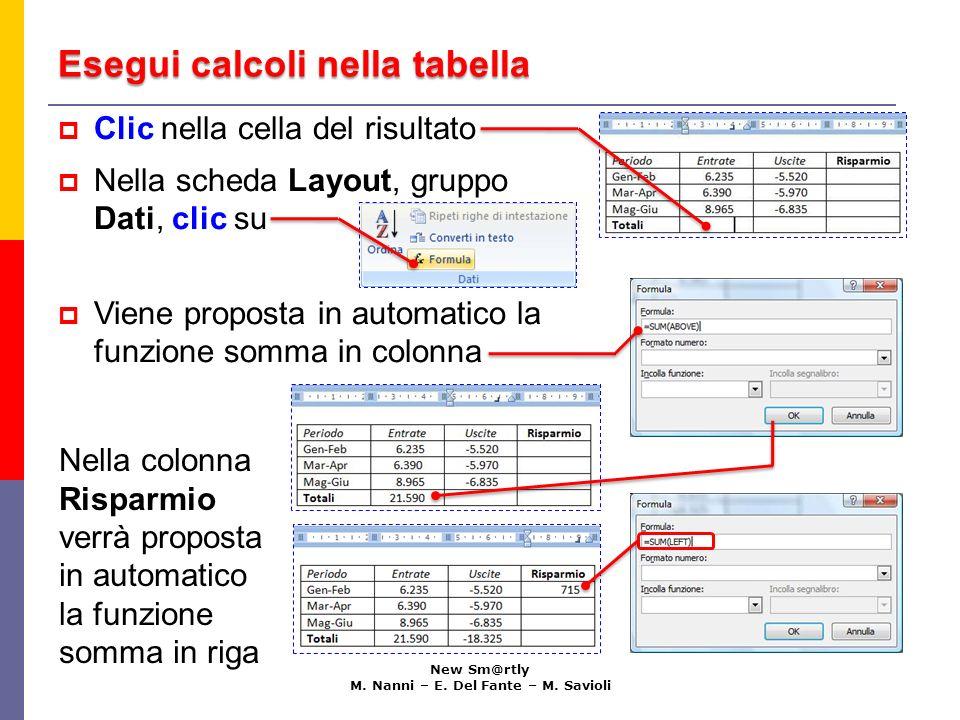 Esegui calcoli nella tabella New Sm@rtly M. Nanni – E. Del Fante – M. Savioli Nella colonna Risparmio verrà proposta in automatico la funzione somma i
