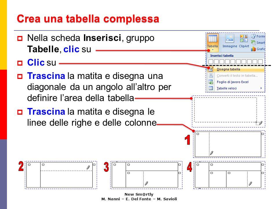 Crea una tabella complessa New Sm@rtly M. Nanni – E. Del Fante – M. Savioli Nella scheda Inserisci, gruppo Tabelle, clic su Clic su Trascina la matita