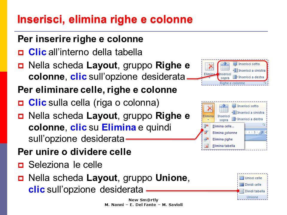 Inserisci, elimina righe e colonne New Sm@rtly M. Nanni – E. Del Fante – M. Savioli Per inserire righe e colonne Clic allinterno della tabella Nella s