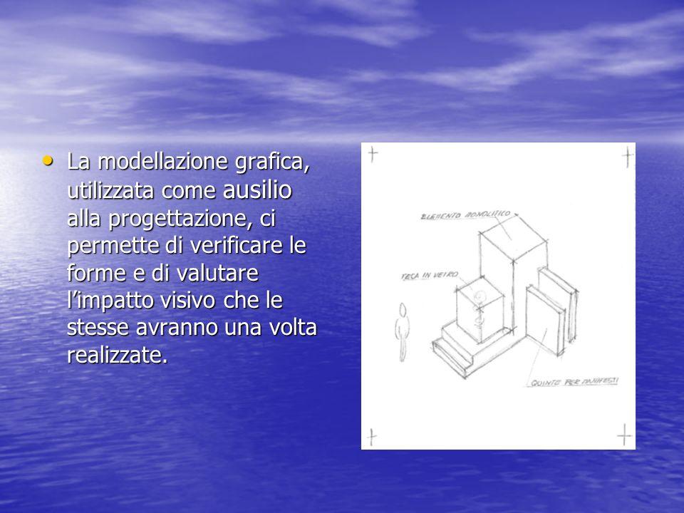 La modellazione grafica, utilizzata come ausilio alla progettazione, ci permette di verificare le forme e di valutare limpatto visivo che le stesse avranno una volta realizzate.