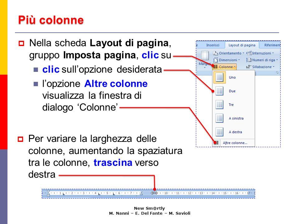 Più colonne con la finestra di dialogo Colonne New Sm@rtly M.