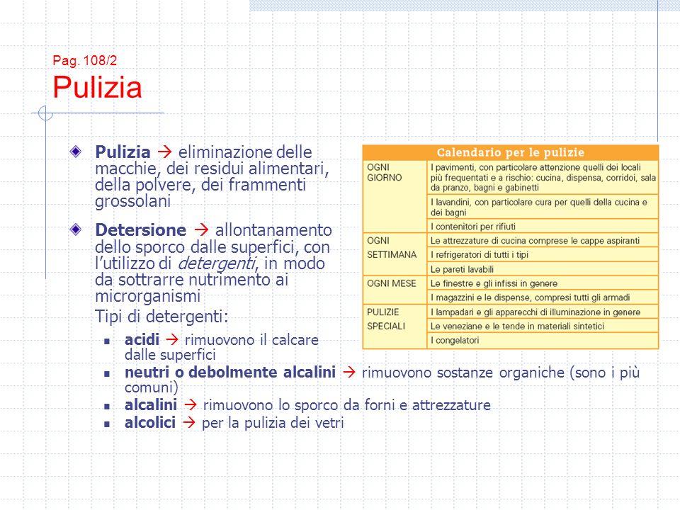 Pag. 108/2 Pulizia Pulizia eliminazione delle macchie, dei residui alimentari, della polvere, dei frammenti grossolani Detersione allontanamento dello
