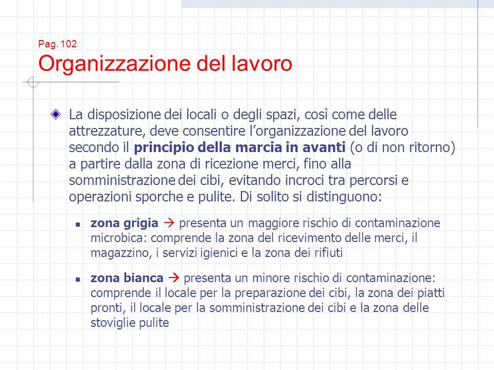 Pag. 102 Organizzazione del lavoro La disposizione dei locali o degli spazi, così come delle attrezzature, deve consentire lorganizzazione del lavoro