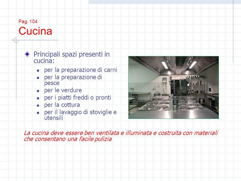 Pag. 104 Cucina Principali spazi presenti in cucina: per la preparazione di carni per la preparazione di pesce per le verdure per i piatti freddi o pr