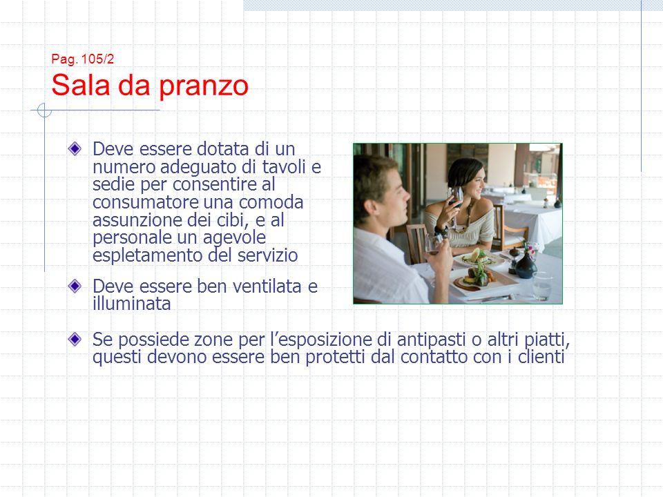 Pag. 105/2 Sala da pranzo Deve essere dotata di un numero adeguato di tavoli e sedie per consentire al consumatore una comoda assunzione dei cibi, e a