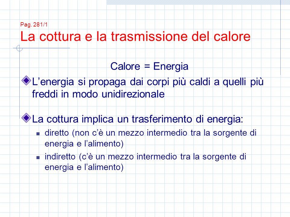 Pag. 281/1 La cottura e la trasmissione del calore Calore = Energia Lenergia si propaga dai corpi più caldi a quelli più freddi in modo unidirezionale