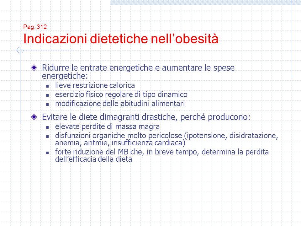 Pag. 312 Indicazioni dietetiche nellobesità Ridurre le entrate energetiche e aumentare le spese energetiche: lieve restrizione calorica esercizio fisi