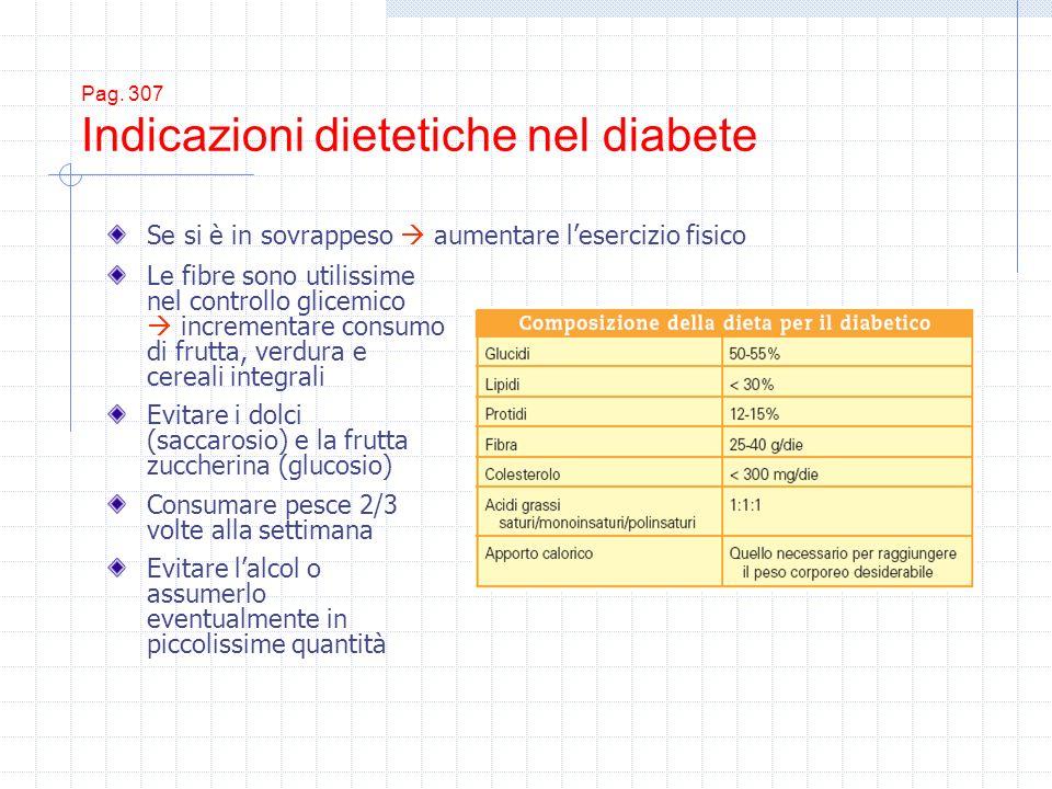 Pag. 307 Indicazioni dietetiche nel diabete Le fibre sono utilissime nel controllo glicemico incrementare consumo di frutta, verdura e cereali integra