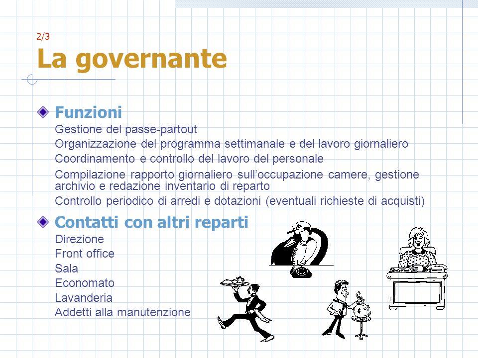 2/3 La governante Funzioni Gestione del passe-partout Organizzazione del programma settimanale e del lavoro giornaliero Coordinamento e controllo del