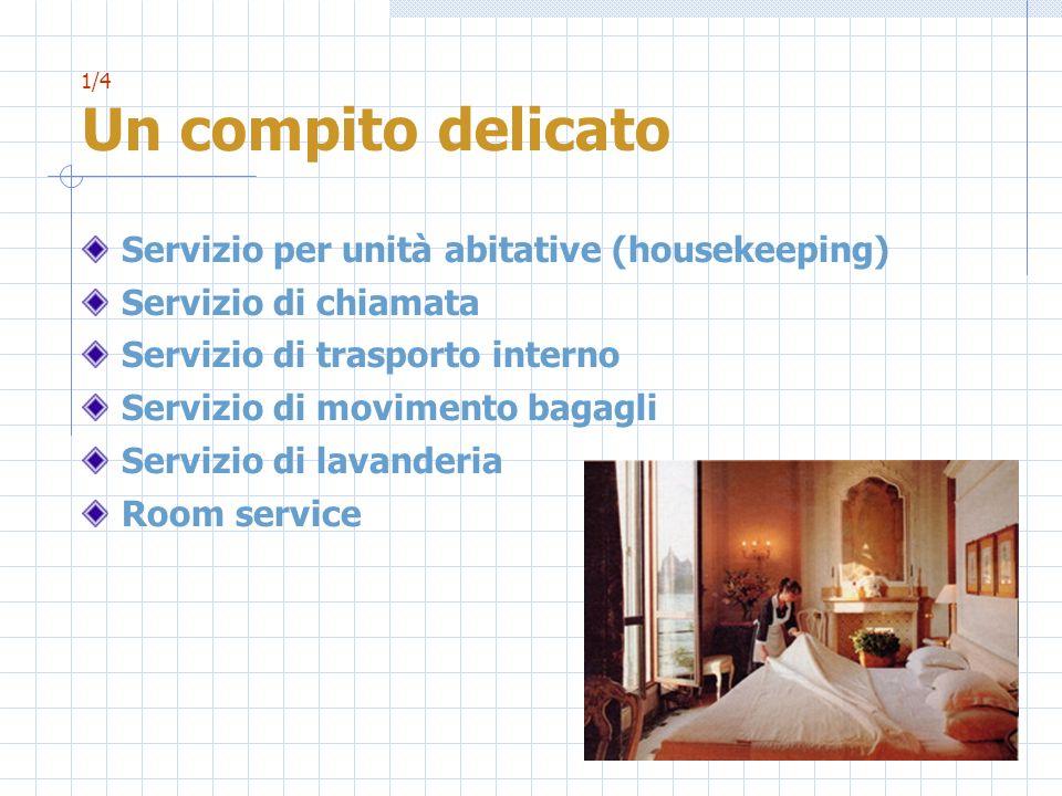 1/4 Un compito delicato Servizio per unità abitative (housekeeping) Servizio di chiamata Servizio di trasporto interno Servizio di movimento bagagli S
