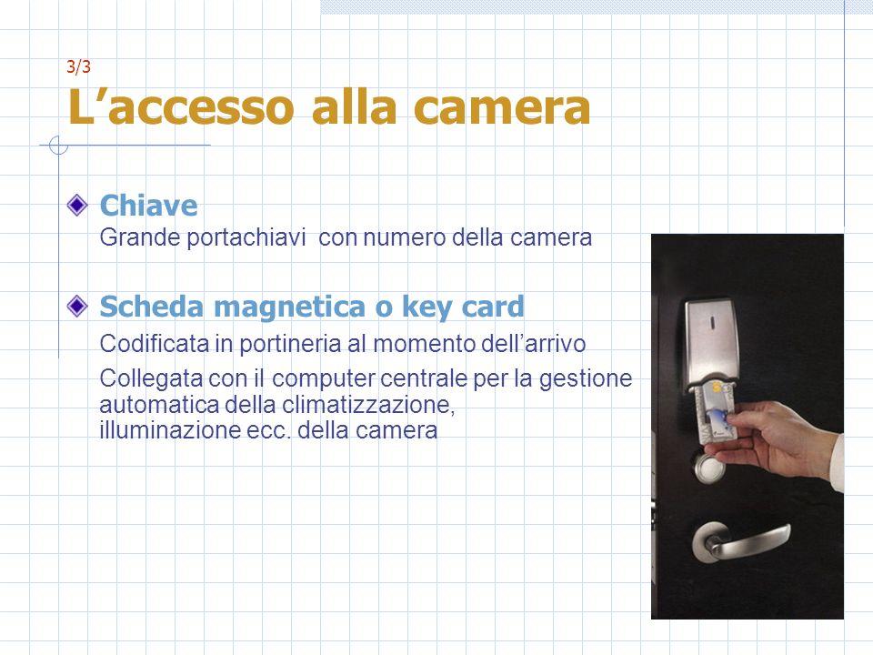3/3 Laccesso alla camera Chiave Grande portachiavi con numero della camera Scheda magnetica o key card Codificata in portineria al momento dellarrivo