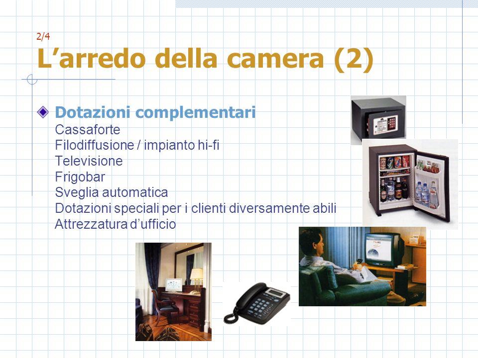 2/4 Larredo della camera (2) Dotazioni complementari Cassaforte Filodiffusione / impianto hi-fi Televisione Frigobar Sveglia automatica Dotazioni spec