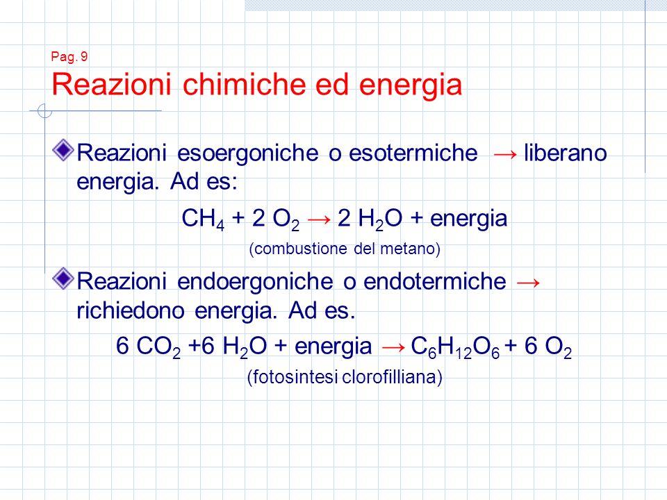 Pag. 9 Reazioni chimiche ed energia Reazioni esoergoniche o esotermiche liberano energia. Ad es: CH 4 + 2 O 2 2 H 2 O + energia (combustione del metan