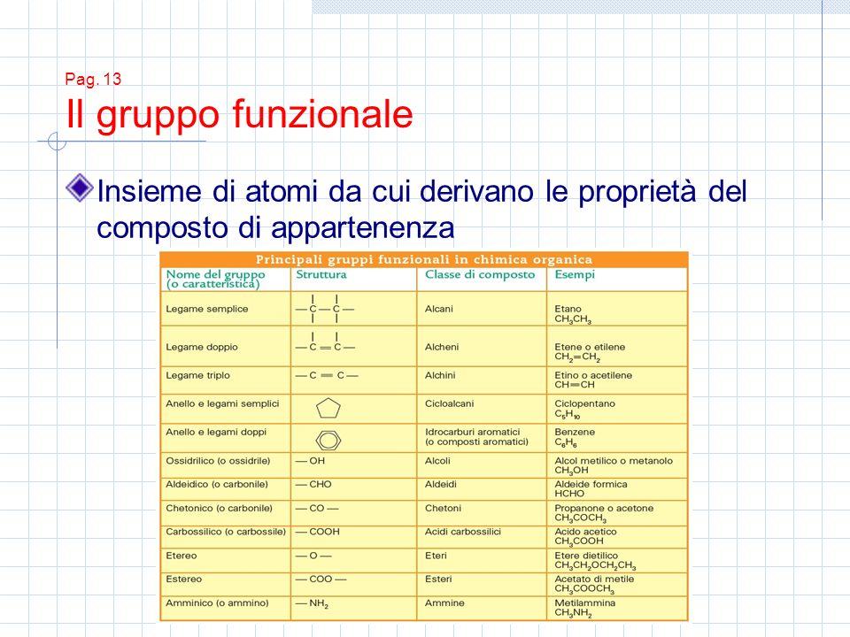 Pag. 13 Il gruppo funzionale Insieme di atomi da cui derivano le proprietà del composto di appartenenza