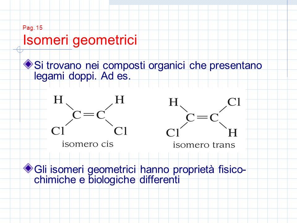 Pag. 15 Isomeri geometrici Si trovano nei composti organici che presentano legami doppi. Ad es. Gli isomeri geometrici hanno proprietà fisico- chimich