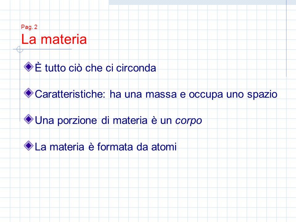 Pag. 2 La materia È tutto ciò che ci circonda Caratteristiche: ha una massa e occupa uno spazio Una porzione di materia è un corpo La materia è format