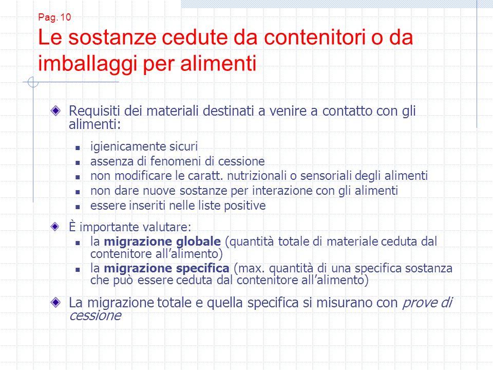 Pag. 10 Le sostanze cedute da contenitori o da imballaggi per alimenti Requisiti dei materiali destinati a venire a contatto con gli alimenti: igienic