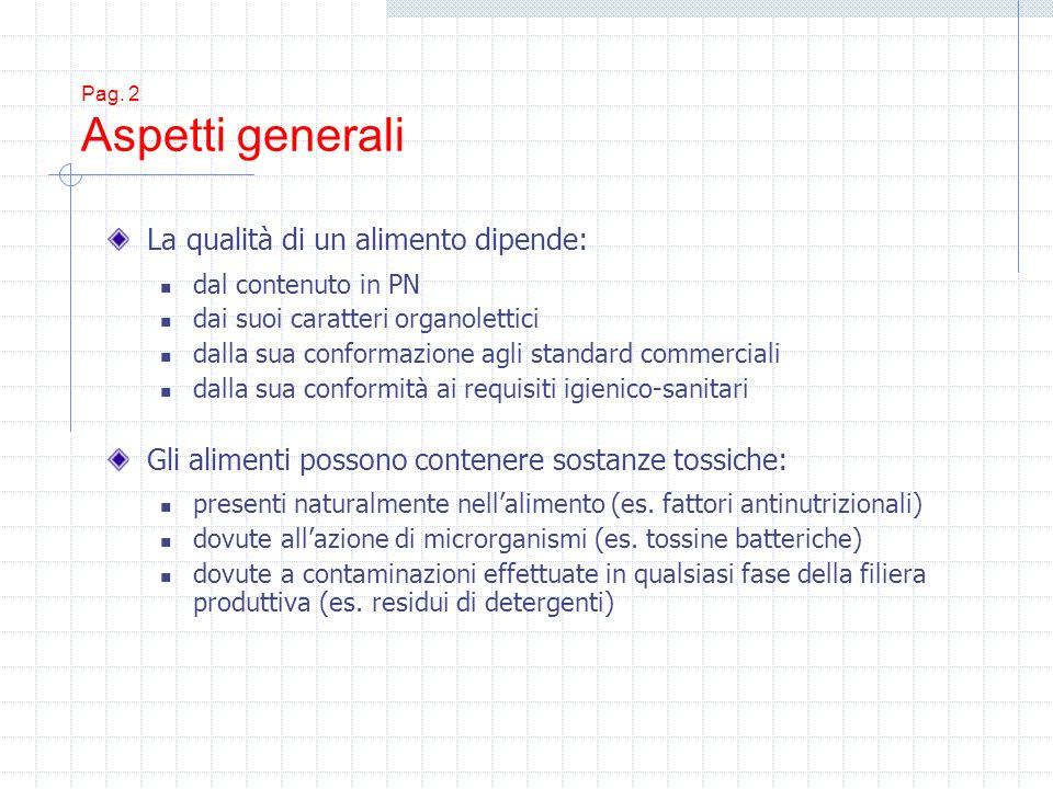 Pag. 2 Aspetti generali La qualità di un alimento dipende: dal contenuto in PN dai suoi caratteri organolettici dalla sua conformazione agli standard