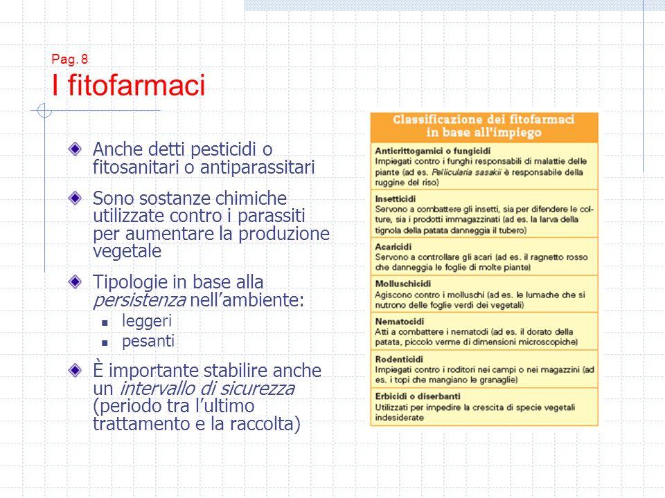 Pag. 8 I fitofarmaci Anche detti pesticidi o fitosanitari o antiparassitari Sono sostanze chimiche utilizzate contro i parassiti per aumentare la prod