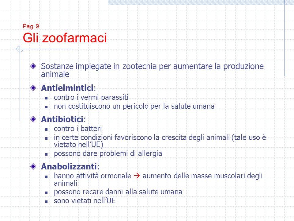 Pag. 9 Gli zoofarmaci Sostanze impiegate in zootecnia per aumentare la produzione animale Antielmintici: contro i vermi parassiti non costituiscono un
