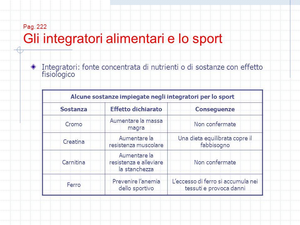 Pag. 222 Gli integratori alimentari e lo sport Integratori: fonte concentrata di nutrienti o di sostanze con effetto fisiologico Alcune sostanze impie
