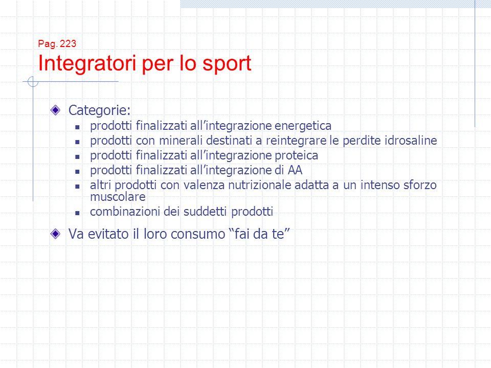 Pag. 223 Integratori per lo sport Categorie: prodotti finalizzati allintegrazione energetica prodotti con minerali destinati a reintegrare le perdite